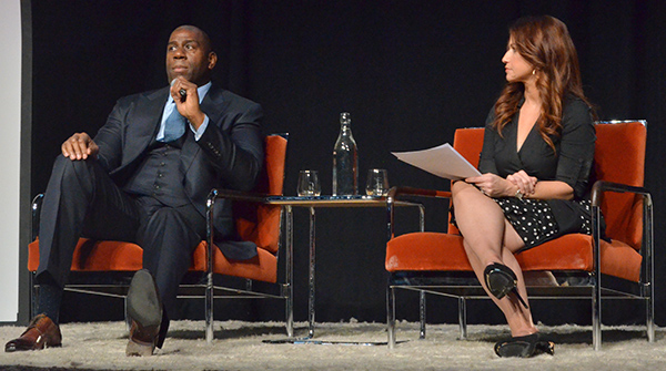 NBA Legend Magic Johnson (left) speaks with ESPN Reporter Rachel Nichols. (Amanda Scurlock/ L.A. Sentinel)
