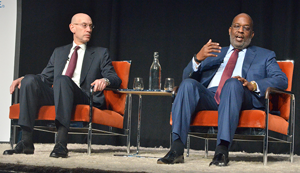 Kaiser Permanente CEO Bernard J. Tyson holds discussion with NBA commissioner Adam Silver. (Amanda Scurlock/ L.A. Sentinel)