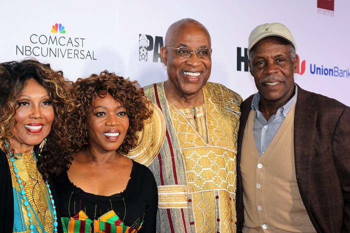 (l-r) Hollywood greats Ja'Net DuBois, Alfre Woodard, PAFF founder Ayuko Babu and legendary actor Danny Glover pictured at PAFF's 25th Anniversary Celebration. Courtesy of PAFF