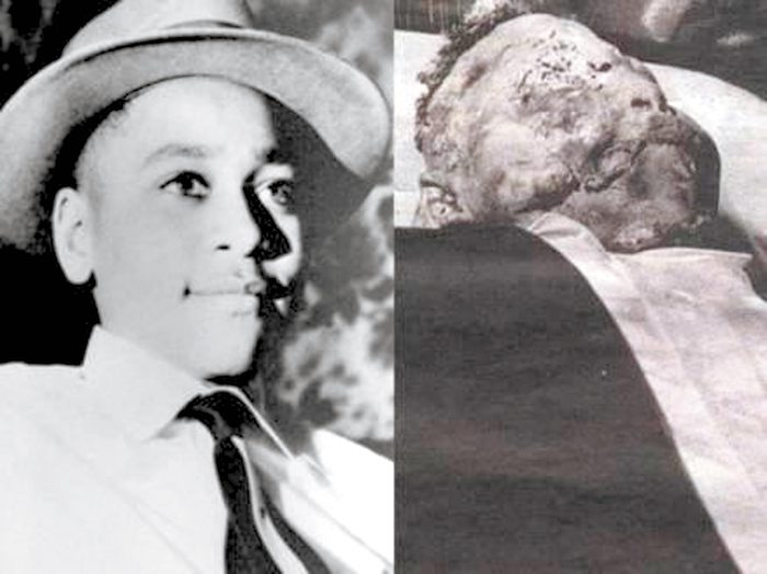 Emmett Till before and after his death. (File Photos)