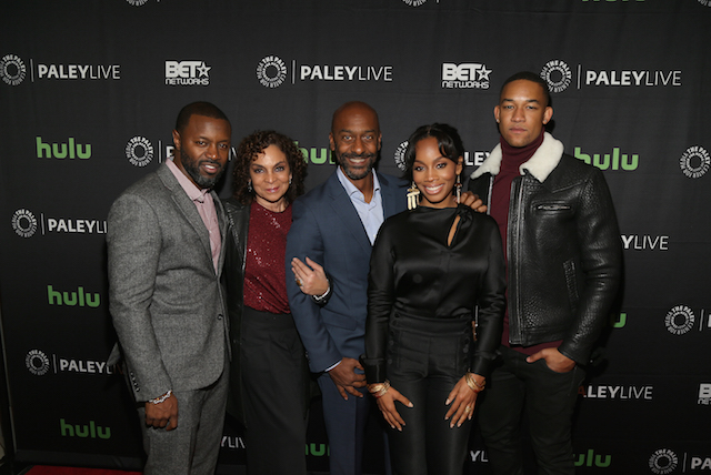 "NEW YORK, NY - DECEMBER 07: (L - R) Rob Hardy, Jasmine Guy, Stephen Hill, Anika Noni Rose, and Peyton Alex Smith attend BET Presents ""An Evening With 'The Quad'"" At The Paley Center on December 7, 2016 in New York City. (Photo by Bennett Raglin/Getty Images for BET Networks)"