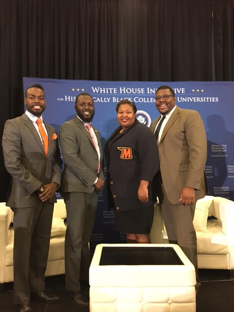 The previous Morgan State HBCU Allstars left-to-right: Triston Bing-Young (2014 Allstar & bachelor of engineering alum), Marcel E. Jagne-Shaw (2015 Allstar- former graduate student), Paris. Adkins-Jackson (2016 Allstar-doctoral student in Psychometrics), and Trevor McKie (2014 Allstar-doctoral candidate in higher education). (courtesy photo)