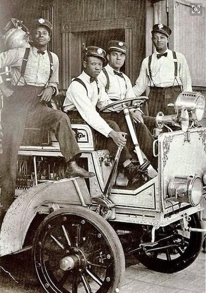 Afr-Amer... - (L-to-R): Fireman Billl Cotterell, Capt. James Akers, Fireman Sanford Jones and Fireman Herb Spragin (Courtesy of AAFFM)