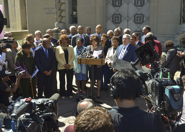 Photo of CBC members taken during a press conference outside of the Department of Justice in Washington, D.C. in September 2016 . (Freddie Allen/AMG/NNPA)