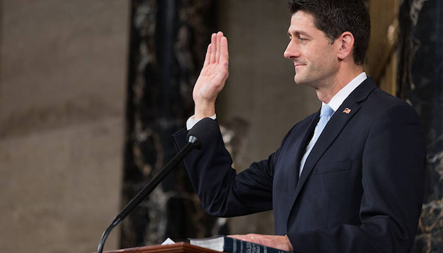 The House of Representatives recently voted to overturn ESSA accountability rules issued by the Obama administration. In this photo, Speaker of the House Paul Ryan (R-Wisc.) takes his oath of office following his election as Speaker on October 29, 2015. (Wikimedia Commons)