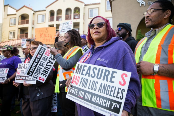 Members of the Service Employees International Union show their opposition to Measure S at a Crenshaw Boulevard press conference (Photo by Jon Endow)