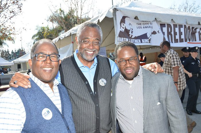 (L-R) L.A. County Supervisor Mark Ridley - Thomas, L.A. City Councilman Curren Price and Assemblymember Sebastian Ridley-Thomas (Courtesy Photo)