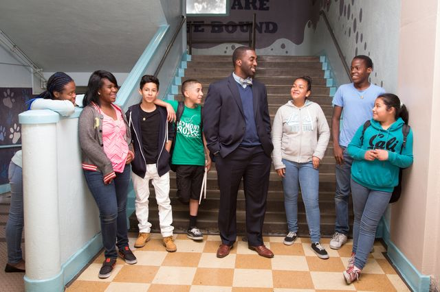 Principal Orlando Johnson and students at the Horace Mann UCLA Community School. (courtesy of Serena Montenegro)