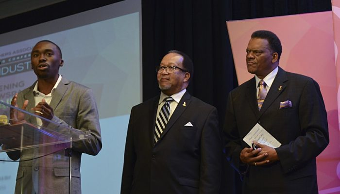 Roosevelt McClary, the secretary of the Broward Teachers Union (left), speaks as NNPA President and CEO Benjamin F. Chavis, Jr. (center) and Westside Gazette publisher Bobby Henry look on during the ESSA/NNPA student workshop at the 2017 NNPA Mid-Winter Conference in Fort Lauderdale, Fla. (Freddie Allen/AMG/NNPA)
