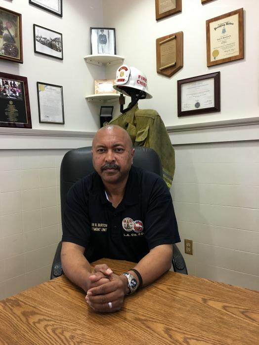 LACFD Captain Brent Burton at the African-American Firefighters Museum (Lauren Jones/LA Sentinel)