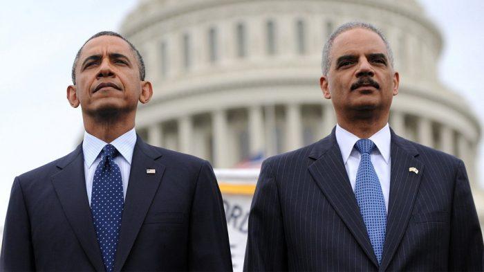 Former President Barack Obama and former Attorney General Eric Holder (AP Photo)