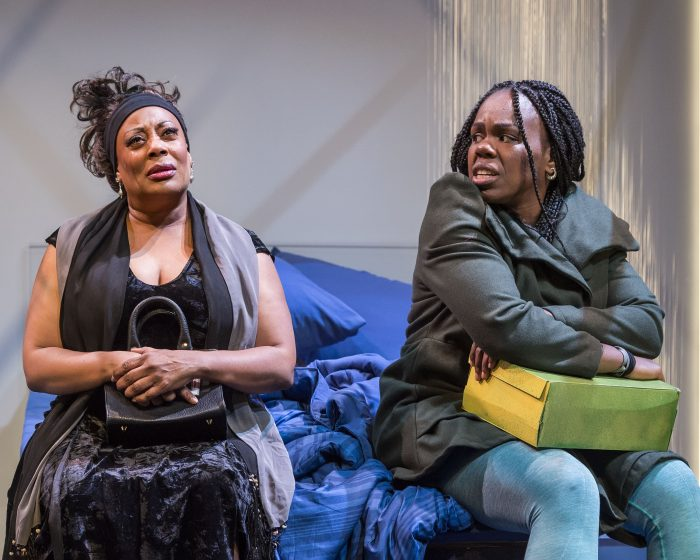 """L-R: Carla Renata and Ngozi Anyanwu in the world premiere of """"Good Grief."""" Written by Anyanwu and directed by Patricia McGregor, """"Good Grief"""" plays at Center Theatre Group's Kirk Douglas Theatre through March 26, 2017. (Photo by Craig Schwartz)"""