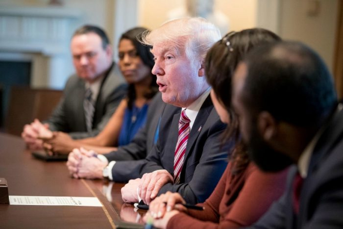 President Donald Trump meets with members of the Congressional Black Caucus in the Cabinet Room of the White House in Washington, Wednesday, March 22, 2017. (AP Photo/Andrew Harnik)
