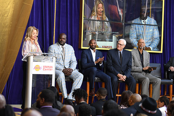 Lakers President Jeanie Buss talks about Shaq's positive impact both on and off court. (STAPLES Center/Bernstein & Associates)
