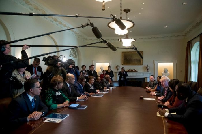 President Donald Trump meets with members of the Congressional Black Caucus in the Cabinet Room of the White House in Washington, Wednesday, March 22, 2017. From left are, Rep. Anthony Brown, D-Va., Rep. Brenda Lawrence, D-Mich., Rep. Andre Carson, D-Ind., Congressional Black Caucus Chairman Rep. Cedric Richmond, D-La.,Rep. Karen Bass, D-Calif., Rep. Gwen Moore, D-Wis., and House Assistant Minority Leader Jim Clyburn of S.C. (AP Photo/Andrew Harnik)