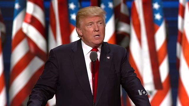 Trump speaking at the Republican National Convention in 2016 (Wikimedia Commons)