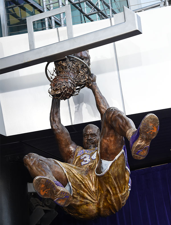 The bronze statue weighs 1,200lbs and is suspended 10ft in the air (STAPLES Center/Bernstein & Associates)