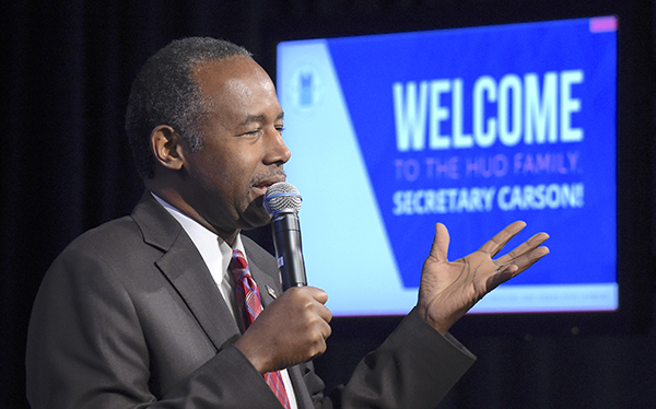 Housing a Urban Development Secretary Dr. Ben Carson speaks to HUD employees in Washington, Monday, March 6, 2017. (AP Photo/Susan Walsh)