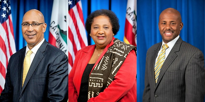 "(From Left-to-Right):Assemblymember Chris Holden (AD41), Assemblymember Shirley Weber (AD79) and Assemblymember Mike Gipson (AD 64), who said of President Trump's Policies, ""For generations, federal policies like the Civil Rights Act, Educational Opportunity Grant and most recently the Affordable Care Act have lifted millions of black families out of poverty and provided an expansion of resources and gave them the chance to live the American Dream to the fullest. Now, all of this progress is under attack."""