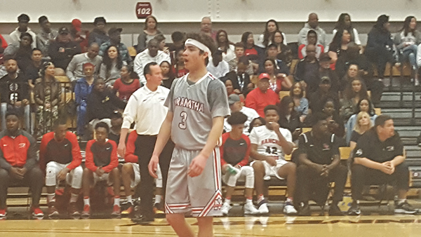 Sean Espinosa (No. 3) scored 11 points and three steals when Maranatha competed against Rancho Verde (Courtesy of Pasadena Now Newspaper)