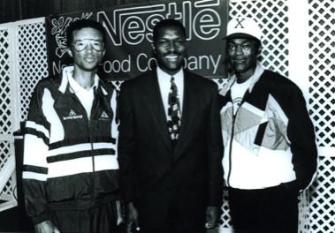 Arthur Ashe (left) poses with Henry Brandon (Courtesy of Living Legends)