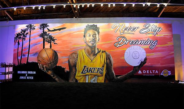 A mural of rookie Lakers forward Brandon Ingram (John Sciulli/Getty Images for Delta)