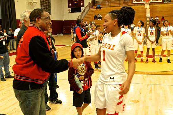 Junior Dawnyel Lair scored 35 points and 14 rebounds during the championship game (E. Mesiyah McGinnis/L.A. Sentinel)