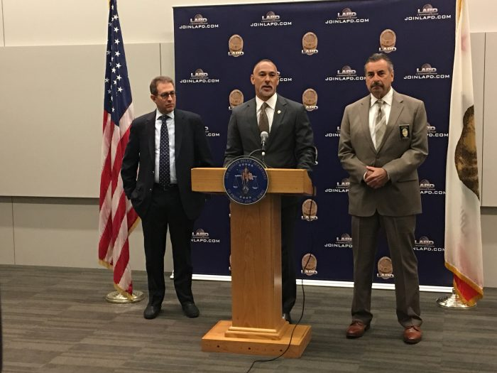 Los Angeles Police Commission President Matthew Johnson, LAPD Chief Charlie Beck, and the Policing Project's Barry Friedman outline plans to gather community input to establish new policies for body camera footage releases (photos by: Charlene Muhammad)