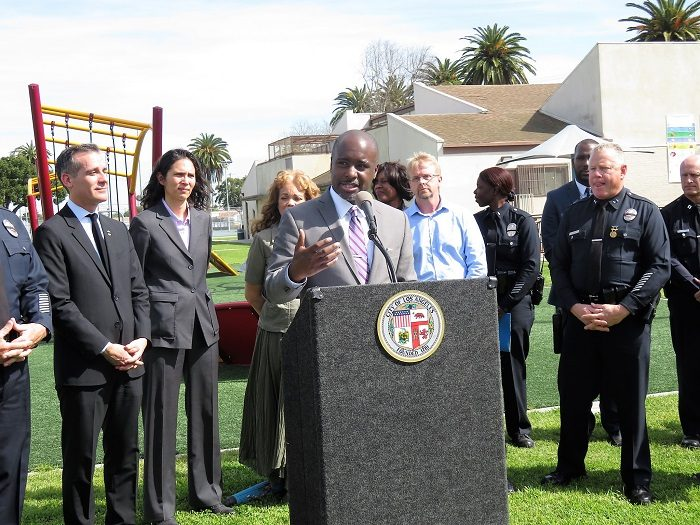 Councilmember Harris-Dawson is joined by Mayor Eric Garcetti, neighborhood council leadership, local police officers, donors, and community activists to unveil the expansion of the Community Safety Partnership. (Photo provided by Office of Councilmember Harris-Dawson).