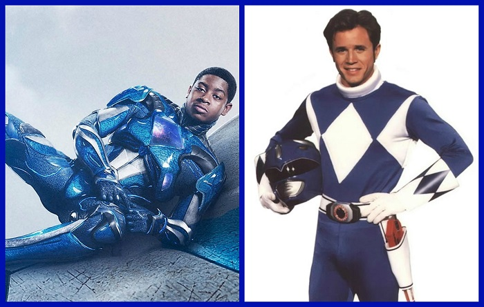 "(L-R): RJ Cyler as Billy, the Blue Ranger in Lionsgate's Power Rangers and David Yost as Billy, the Blue Ranger on Saban's ""Mighty Morphin Power Rangers."" Courtesy Photo Collage By Brian W. Carter"