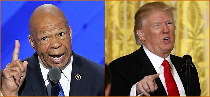 "(L-R) Maryland Congressman Elijah Cummings admonished President Donald Trump during meeting on prescription drug prices for his ""hurtful"" and ""insulting"" statements on African-American communities; Cummings praised Trump after their meeting for his support of legislation to lower prescription drug prices. The president had accused Cummings earlier of canceling a meeting with him. Cummings said there was never a meeting and the president made up the event. (Courtesy photo)"