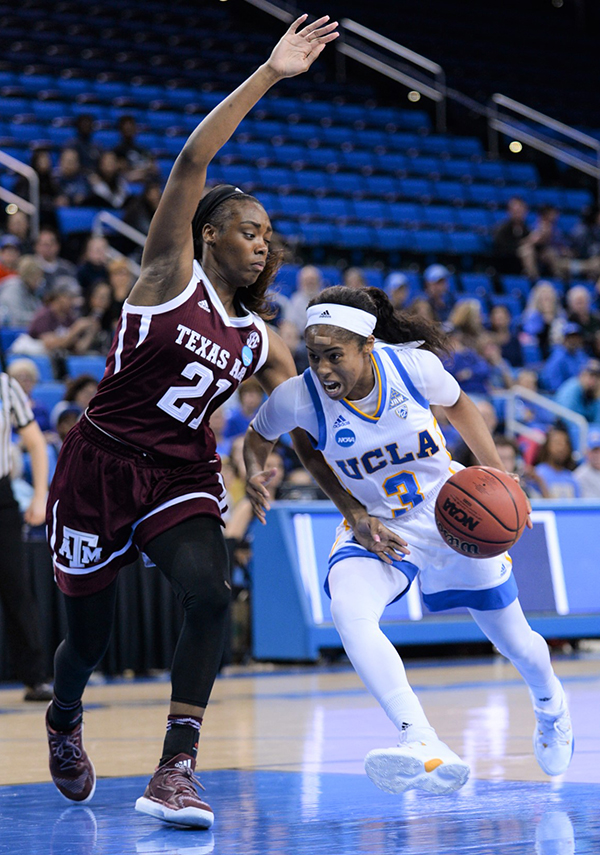 Jordin Canada scored 12 points and 11 assists when UCLA played against Texas A&M (Zyaire Porter/T.G.Sportstv1)