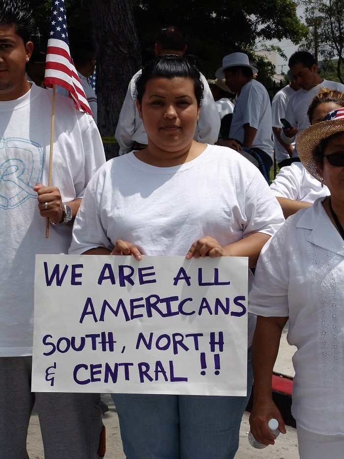 This photo was taken during an immigrant rights march for amnesty in downtown Los Angeles, California on May Day in 2006. (Jonathan McIntosh/Wikimedia Commons)
