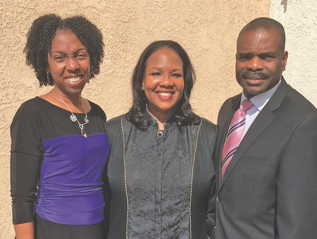 From left, Dr. Vanessa Gavin-Headen, Pastor Mary S. Minor and Dr. William Releford of Brookins-Kirkland Community AME Church Health Commission. (photo by Cora J. Fossett)