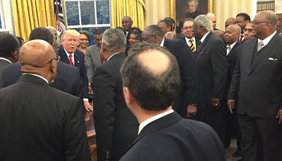 President Donald Trump meets with the presidents and chancellors from the nation's Historically Black Colleges and Universities. (Lauren Victoria Burke/NNPA)