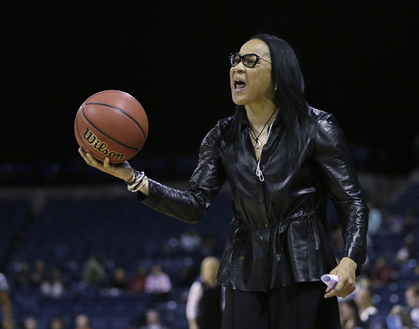South Carolina head coach Dawn Staley protest a charging foul called against Gamecock forward A'ja Wilson during the second half against Florida State in a regional final game of the women's NCAA college basketball tournament, Monday, March 27, 2017, in Stockton, Calif. South Carolina won 71-64. (AP Photo/Rich Pedroncelli)