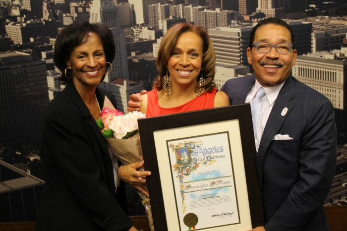 (l to r) KJLH-FM General Manager Karen Slade, host Dominique DiPrima and Los Angeles Council President Herb Wesson Fri. Mar. 31 at Los Angeles city hall.