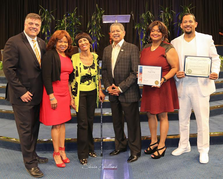 From left are John Gremer, Walgreen's director of Community Affairs; Tracey Alston, FLHI executive director; Dr. Betty Price, Apostle Frederick K.C. Price, First Lady Angel Price and Pastor Fred Price of Crenshaw Christian Center. (photo by Steven Williams)