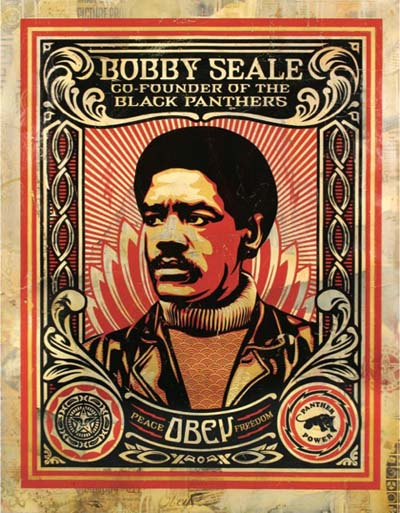 A hand-painted silkscreen of Bobby Seale by Shepard Fairey. (Courtesy