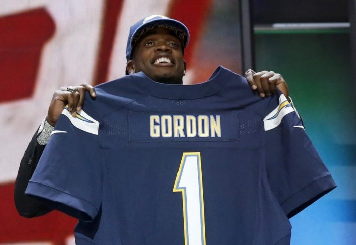 Former Wisconsin running back Melvin Gordon was drafted to the then San Diego Chargers. (Charles Rex Arbogast/Associated Press)