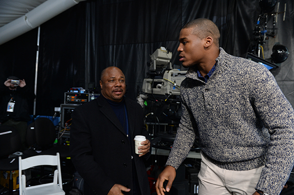 New York, NY - January 31, 2014 - Herald Square: Dave Roberts (l) with quarterback Cam Newton (l) on the set of Mike and Mike during Super Bowl week (Photo by Joe Faraoni / ESPN Images)