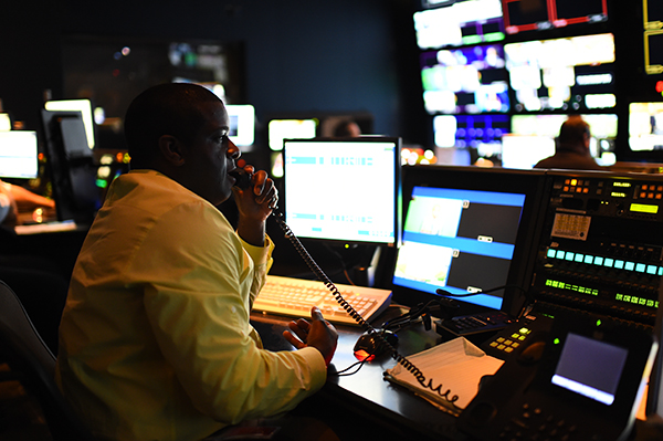 Antoine Lewis in the control room during a taping of First Take (Photo by Joe Faraoni / ESPN Images)
