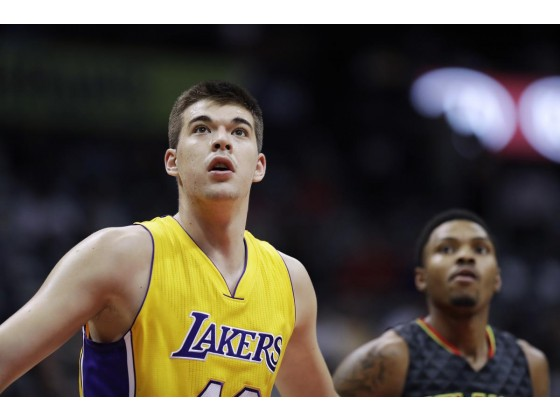 Lakers rookie Ivica Zubac, of Croatia, plays in the first quarter of a game against the Atlanta Hawks in Atlanta on Wednesday, Nov. 2, 2016. (AP Photo/David Goldman)