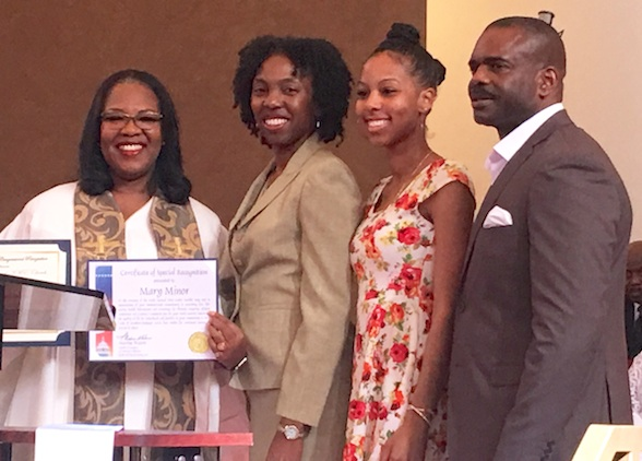 Pastor Mary S. Minor (left) of Brookins-Kirkland Community AME Church with Dr. Vanessa Gavin-Headen, Registered Dental Hygienist Trénais Roberts and Dr. William Releford of the BKCAME Health Commission. (photo by Carla Murphy)