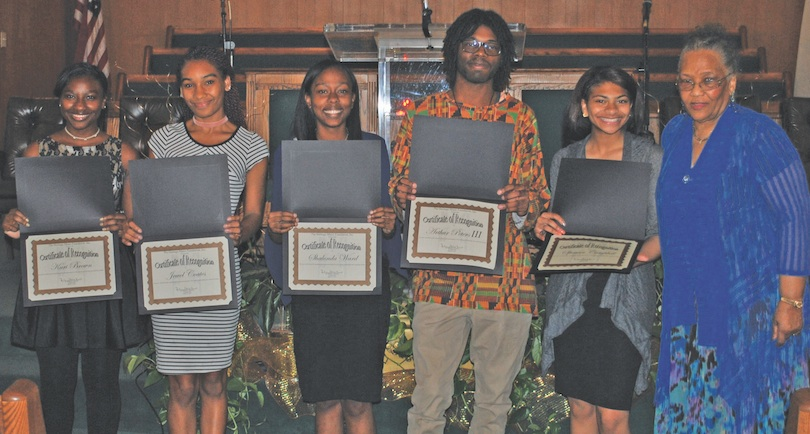 From left are scholarship winners Kari Brown, Jewel Coates, Shalonda Ward, Arthur Peters III and Farah Khademi with Dr. Margaret Pleasant Douroux, HMF CEO and founder.