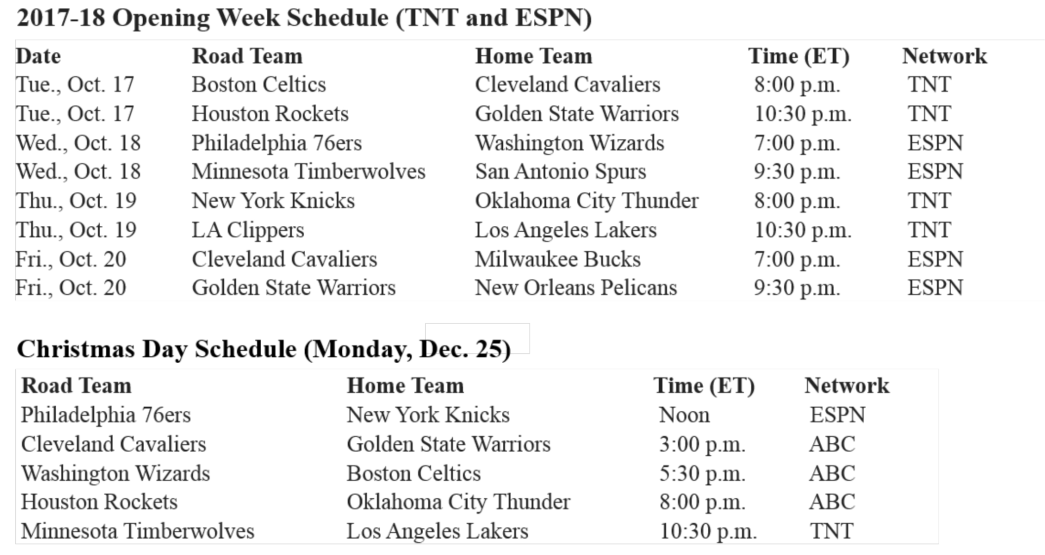 nba unveils national tv schedule for 2017-18 opening week and