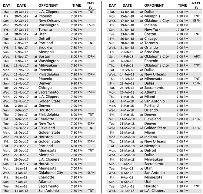 Lakers Announce 2017-18 Regular Season Schedule - Los