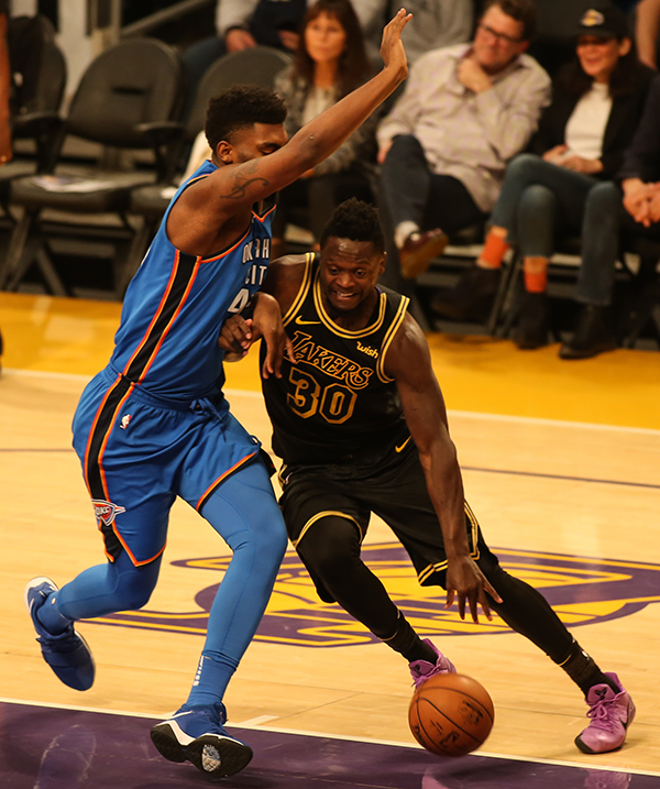 2d4ca6f4f67e Los Angeles Lakers forward Julius Randle (30) going to the paint during the  Oklahoma City Thunder vs Los Angeles Lakers at Staples Center on February  8
