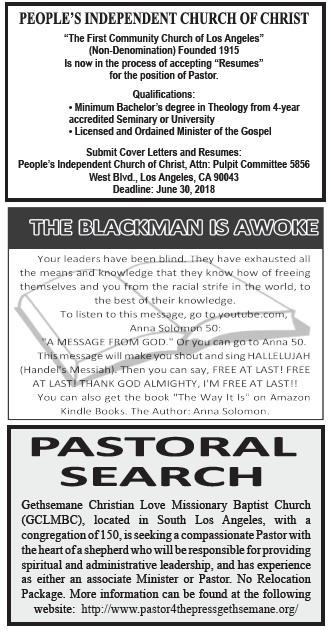 Call 2 Worship - April 19 - Los Angeles Sentinel | Los ...