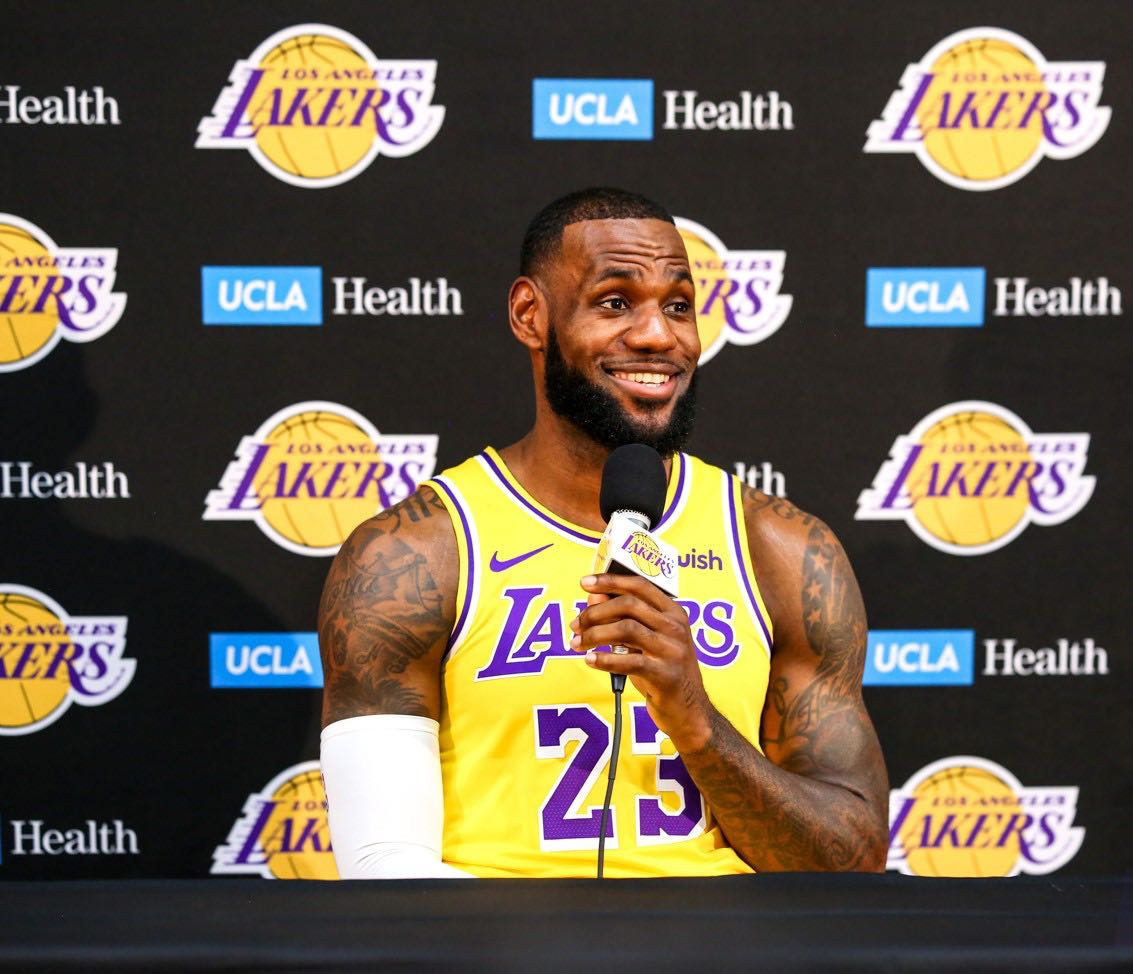 8c4289765d54 LeBron James addresses the media for the first time since signing with the  Lakers in July at the UCLA Health Training Facility in El Segundo